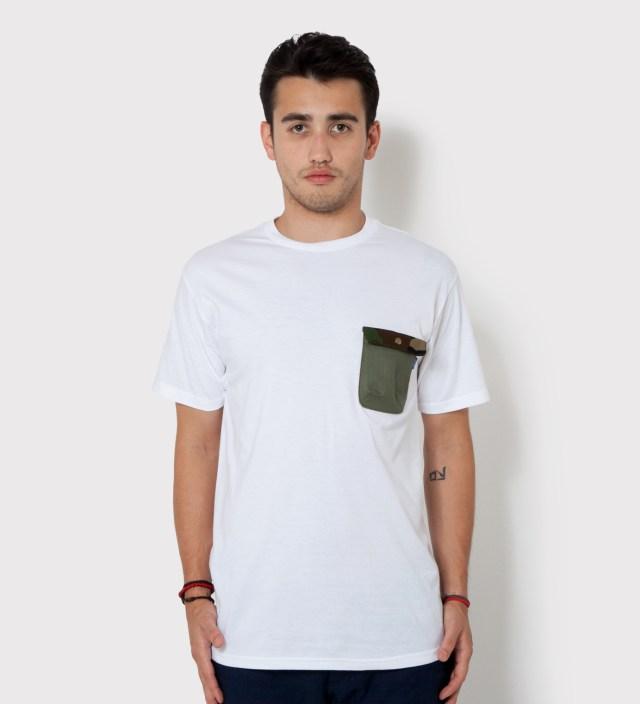 Tantum White Olive Drab HBT w/ Woodland Camo Flap Chief Pocket T-Shirt