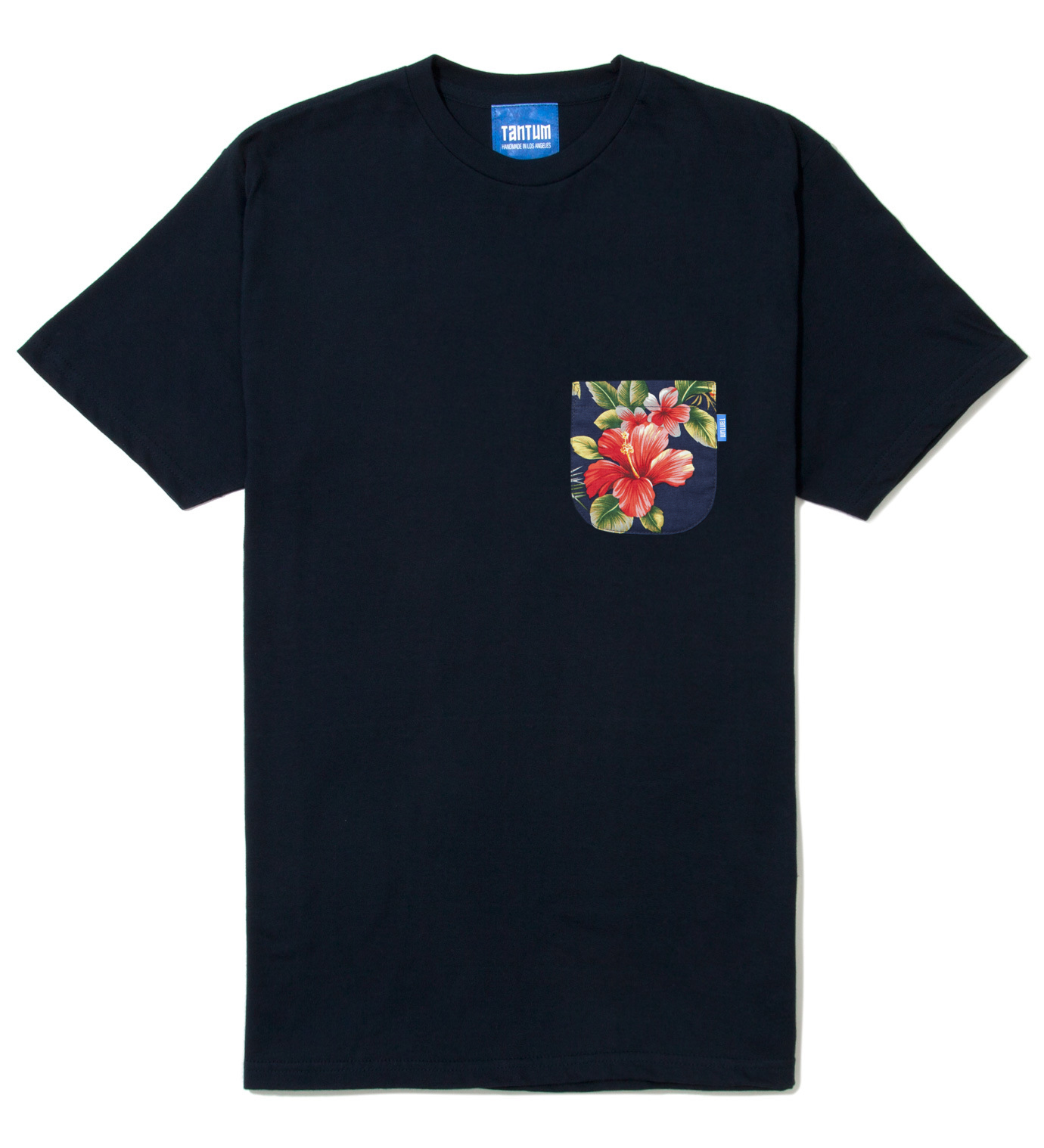 Tantum Navy Blue Hawaiian Print Pocket T-Shirt
