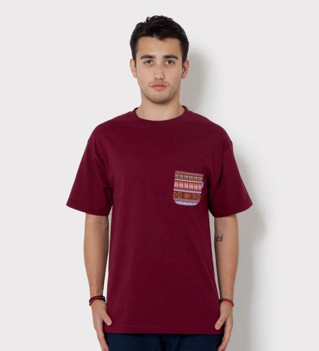 Tantum Burgundy South African Tribe Pocket T-Shirt