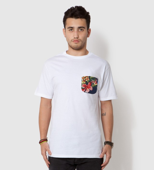 Tantum White Hawaiian Print Pocket T-Shirt