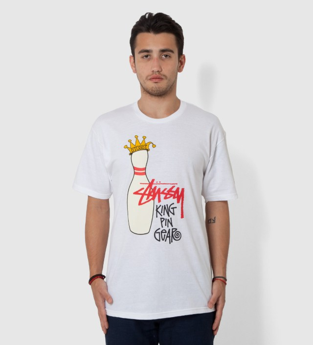 Stussy White King Pin Gear T-Shirt