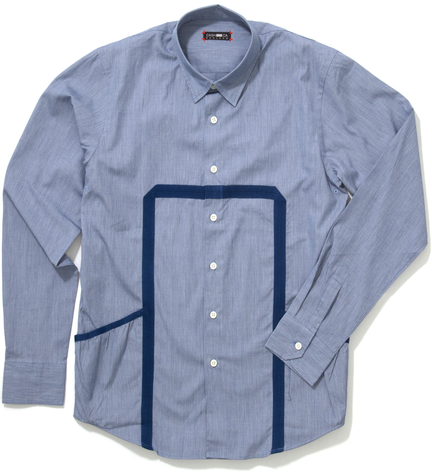 CASH CA Blue End on End Knit Tape Shirt