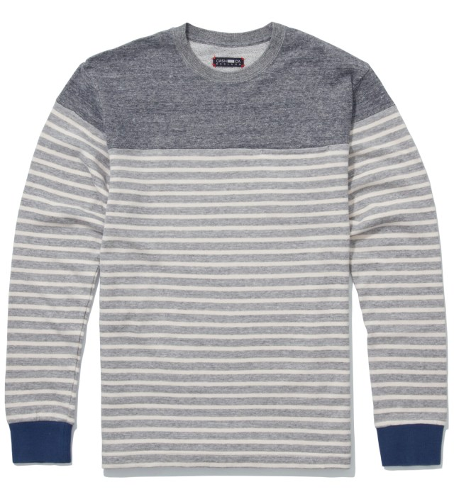CASH CA Grey Panel Border Sweater