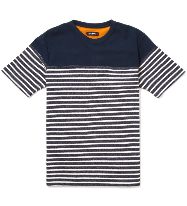 CASH CA Navy Panel Border T-Shirt