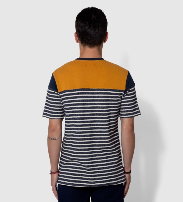 CASH CA Navy Panel Border T-Shirt