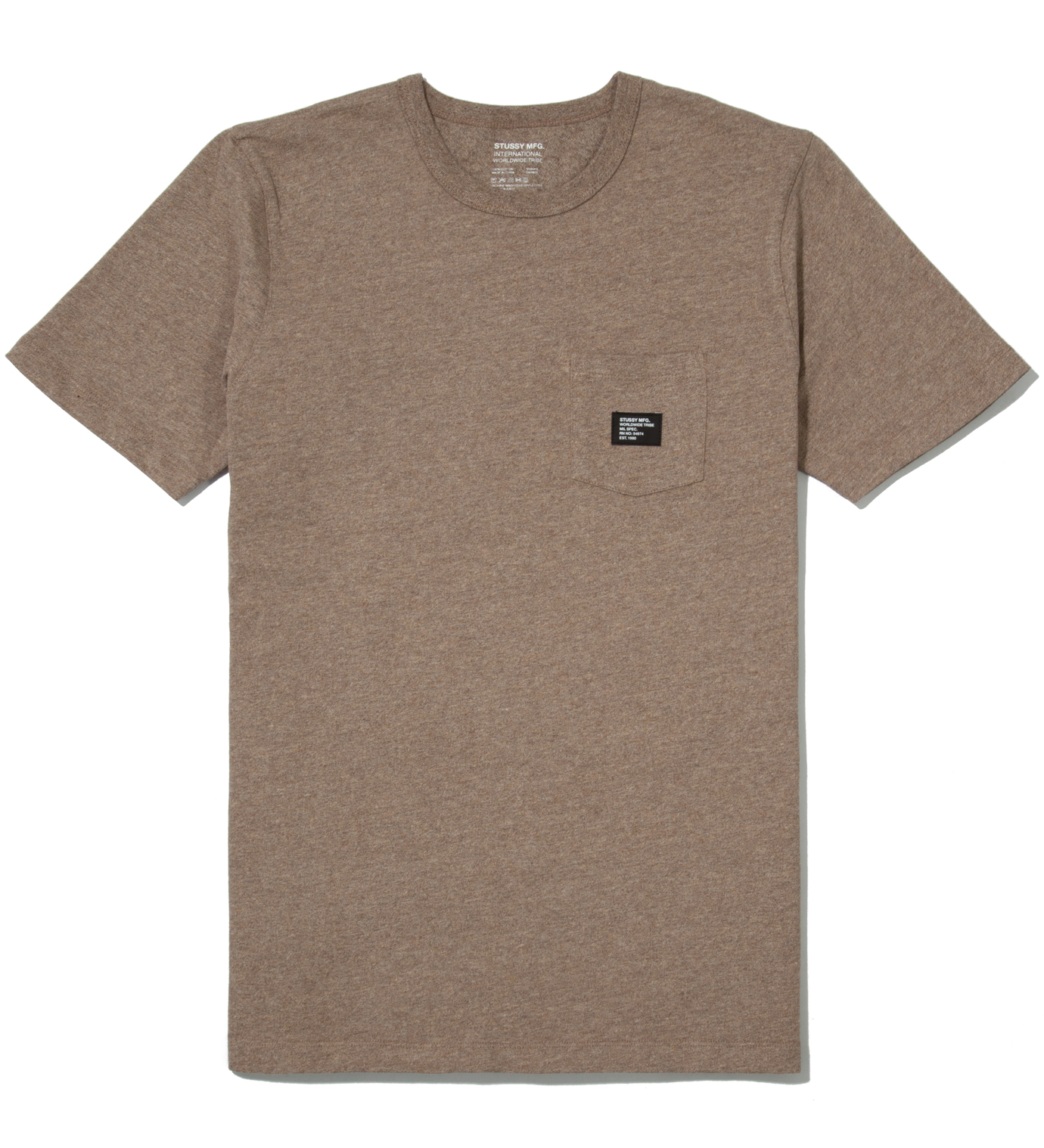 Stussy Brown Heather Basic Issue Crew T-Shirt