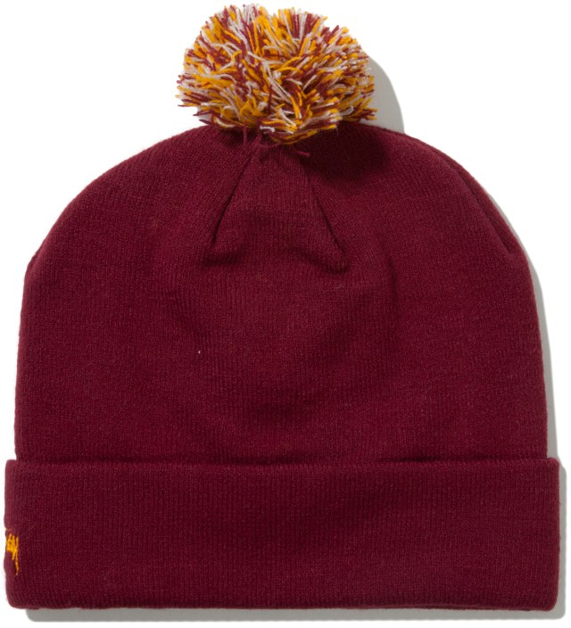 Stussy Burgundy Athletic S Pom-Pom Beanie