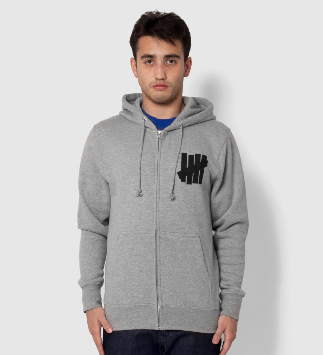 UNDEFEATED Heather Grey 5 Strike Zip Hoodie