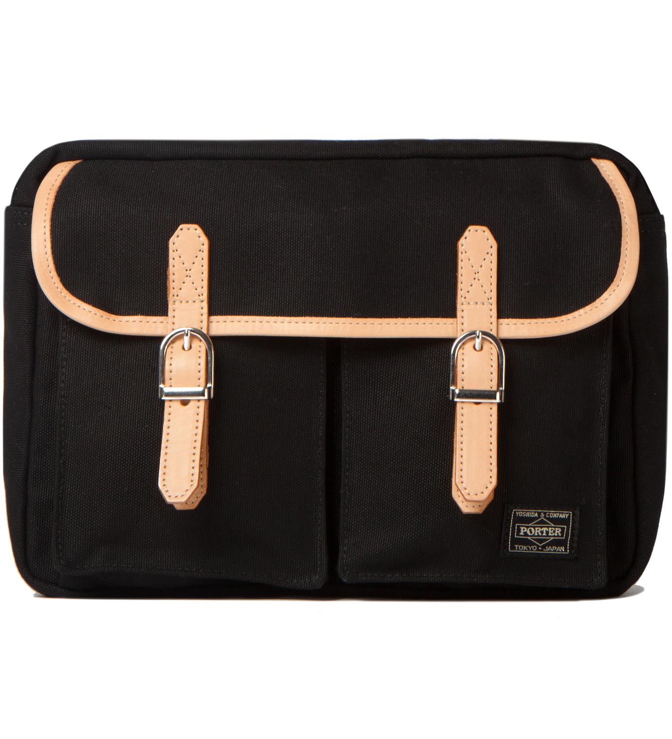Head Porter Black LX x Canvas Shoulder Bag