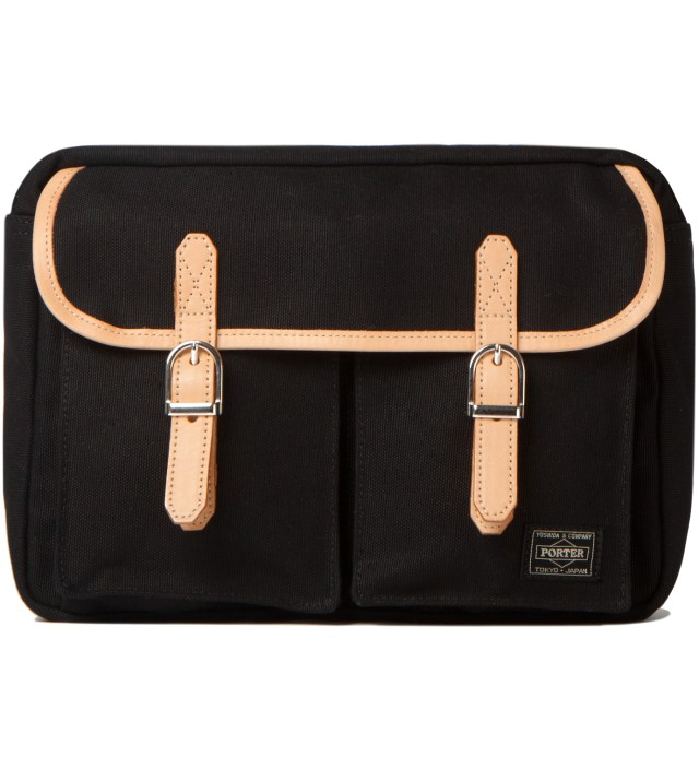 Head Porter Black LX x Canvas Shoulder Bag