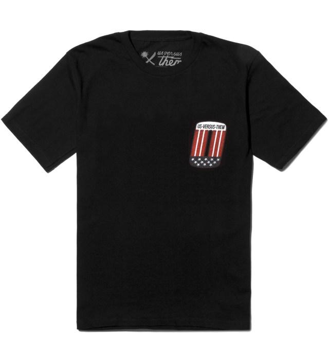 Us Versus Them Black Patched T-Shirt