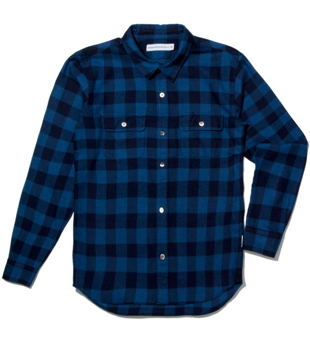 Head Porter Plus Blue Block Check Shirt