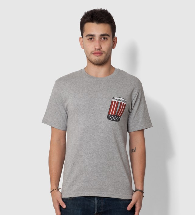 Us Versus Them Heather Grey Patched T-Shirt