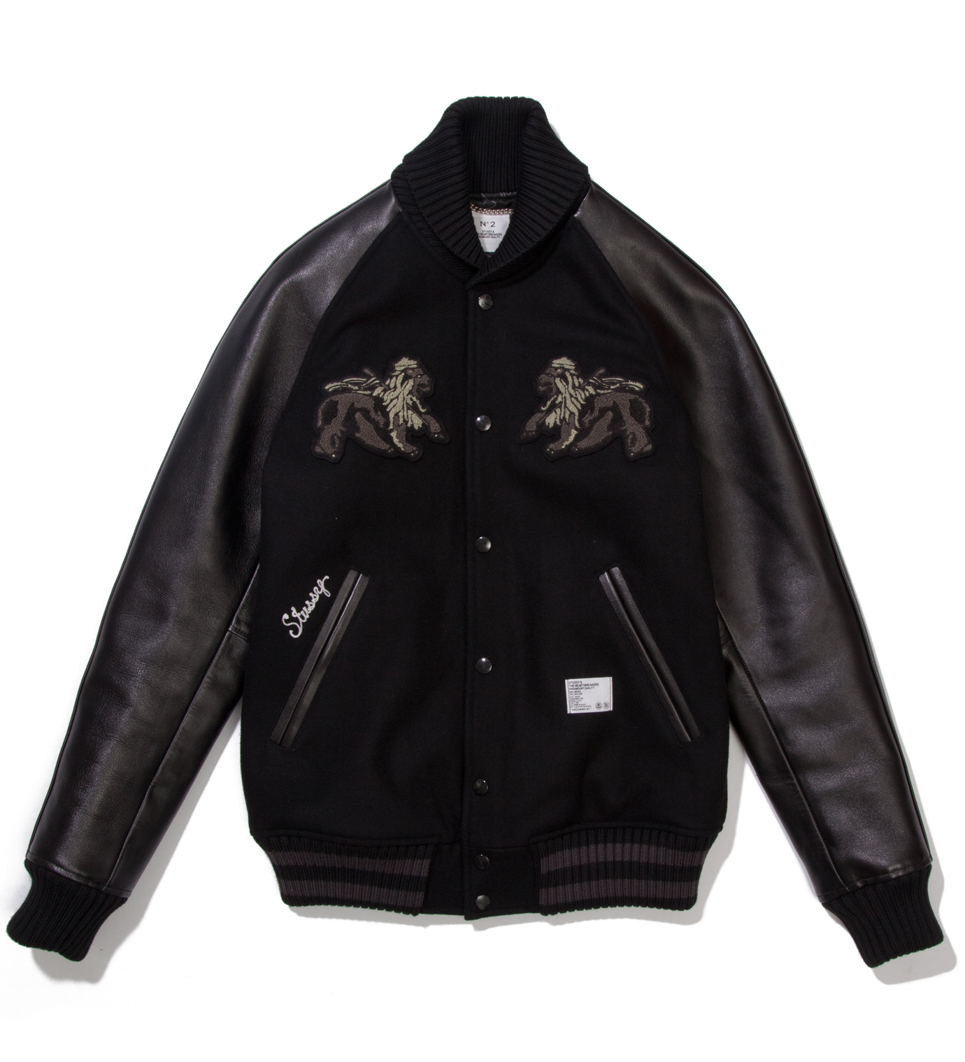 "BEDWIN & THE HEARTBREAKERS Stussy x The Heartbreaker Black and Black ""Rubin"" Varsity Jacket"