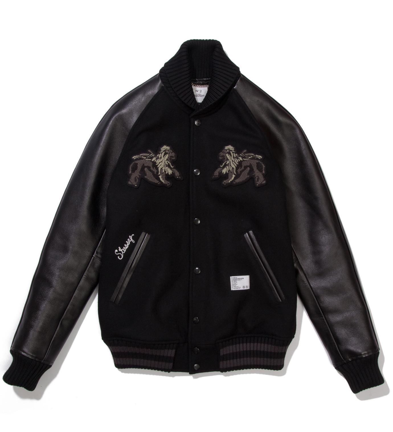 """BEDWIN & THE HEARTBREAKERS Stussy x The Heartbreaker Black and Black """"Rubin"""" Varsity Jacket"""