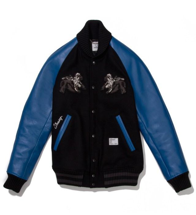 """BEDWIN & THE HEARTBREAKERS Stussy x The Heartbreaker Black and Blue """"Rubin"""" Varsity Jacket"""