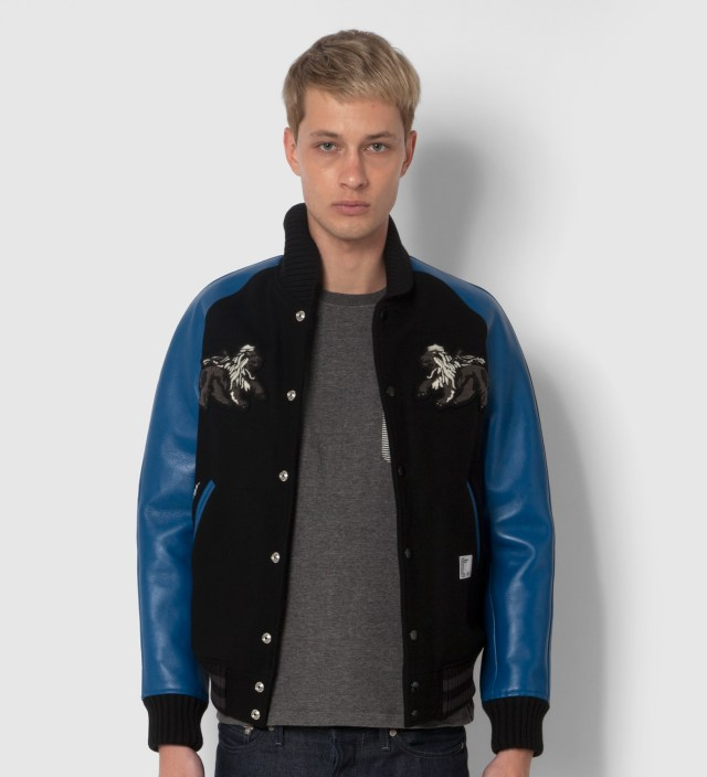 "BEDWIN & THE HEARTBREAKERS Stussy x The Heartbreaker Black and Blue ""Rubin"" Varsity Jacket"