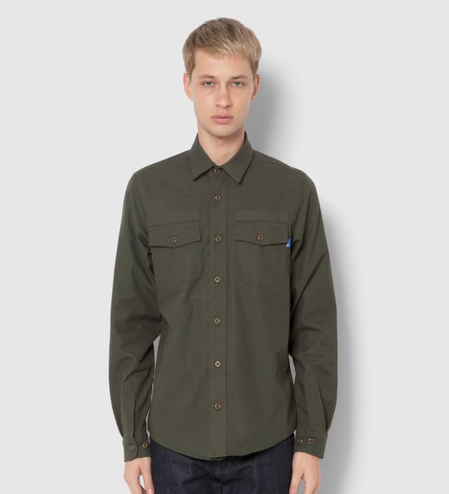 Tantum Tantum x Deadline Olive Drab Ripstop Long Sleeve Military Shirt