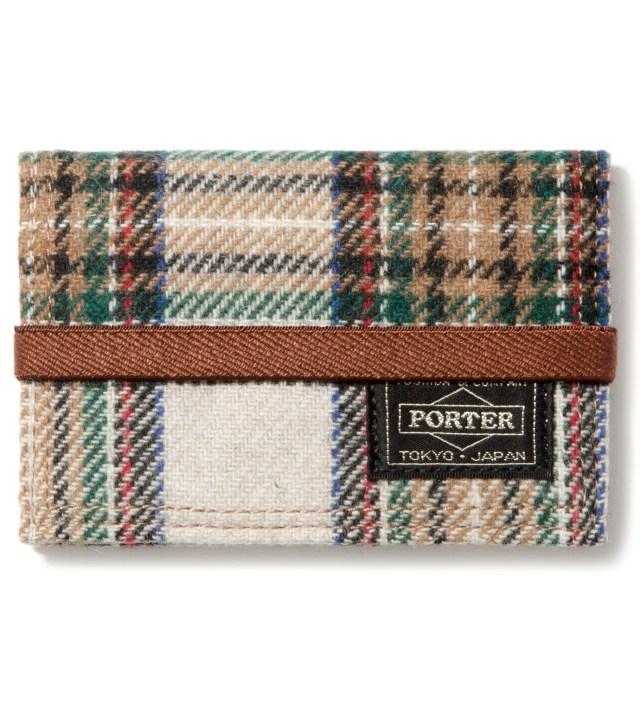 Head Porter Beige/White Band Card Case