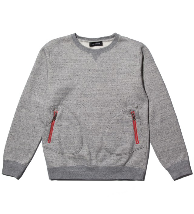 PHENOMENON Grey Cotton Mixed Crewneck