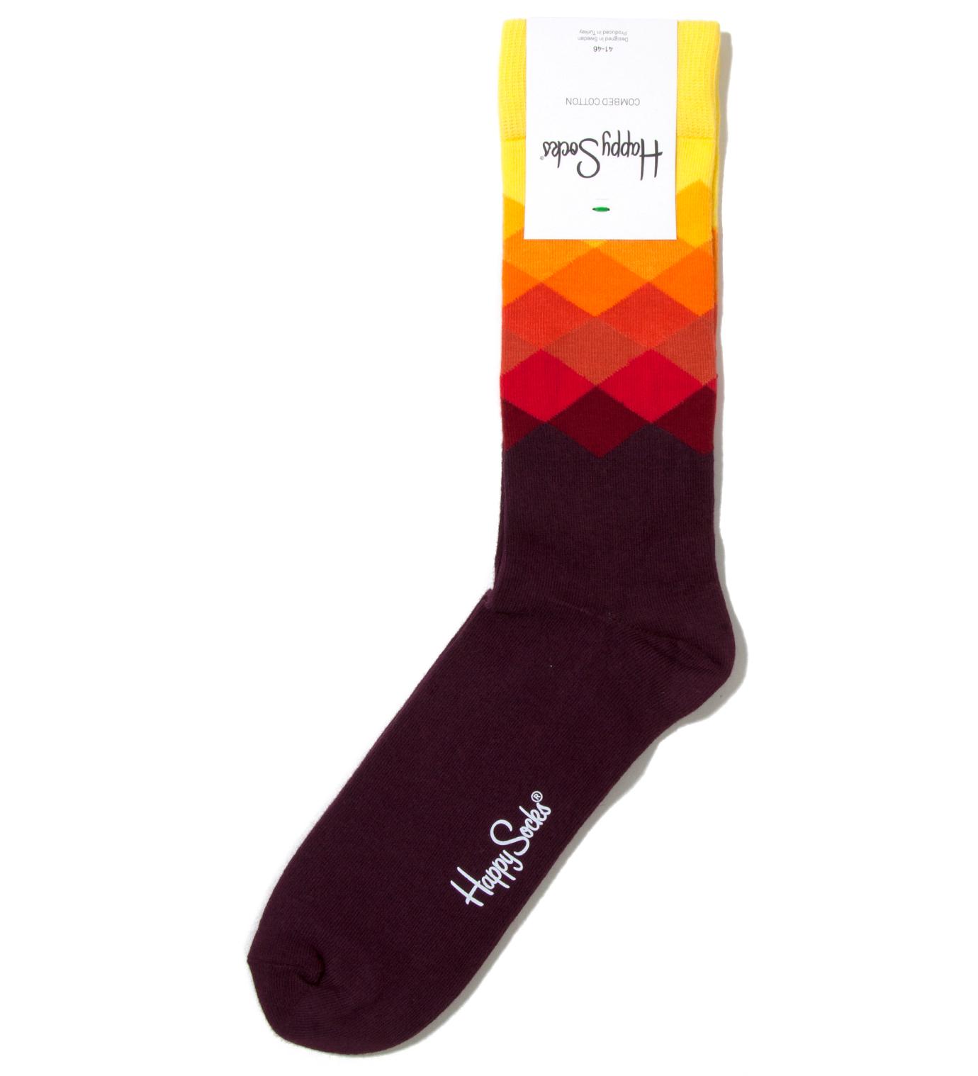 Happy Socks Yellow Faded Diamond Sock