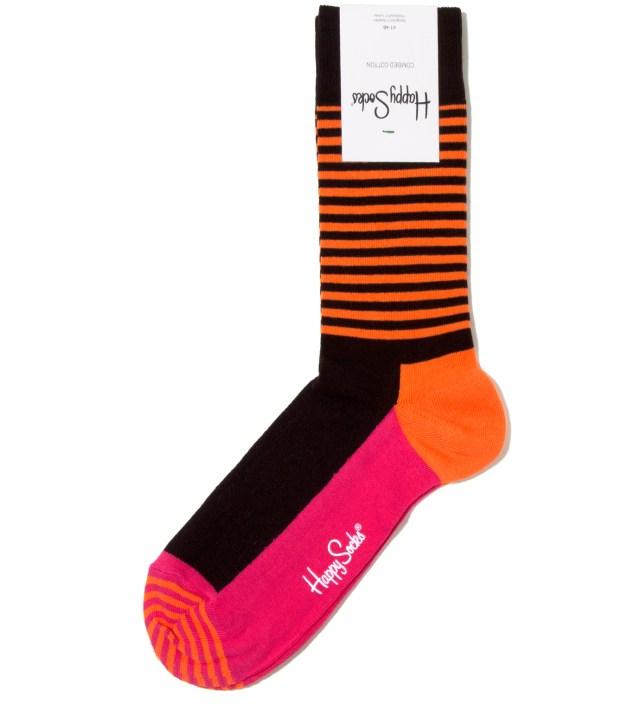 Happy Socks Orange/ Brown Stripe Half Sock