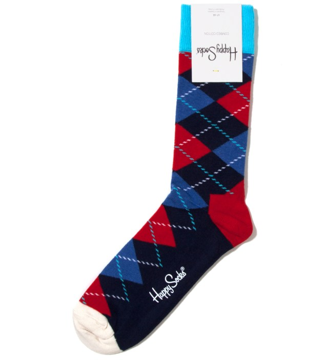 Happy Socks Blue Argyle Sock