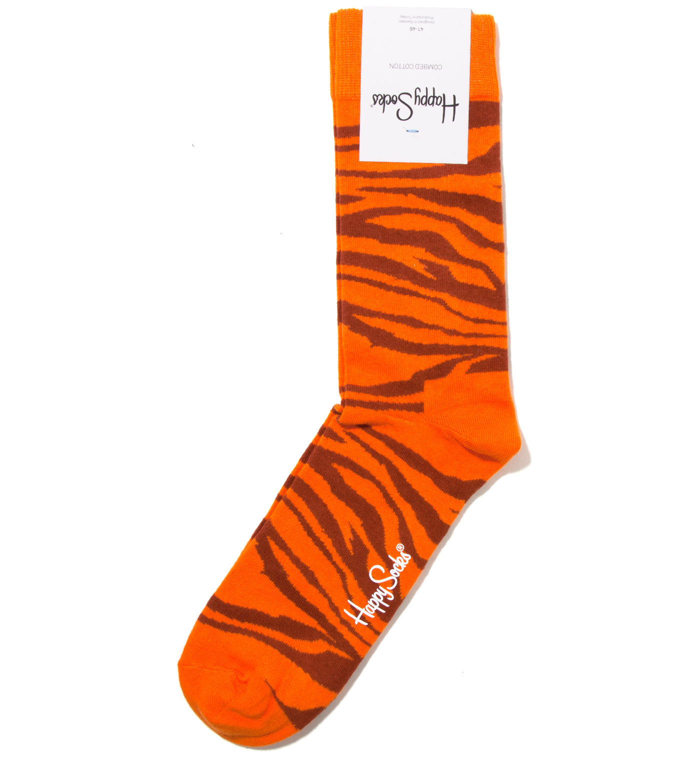 Happy Socks Animal Orange Zebra Sock