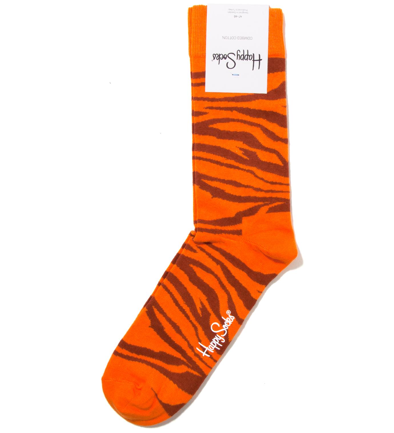 Happy Socks Animal Orange Zebra Sock