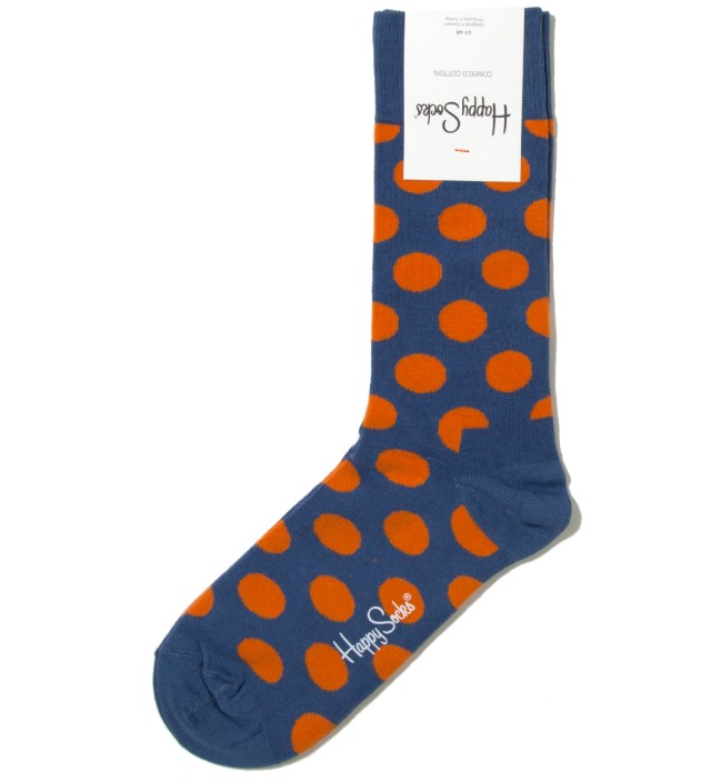 Happy Socks Blue/ Orange Big Dot Sock