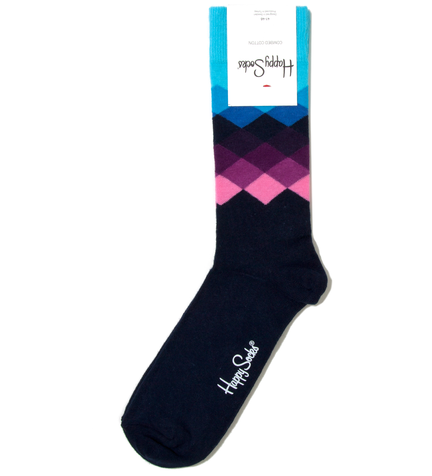 Happy Socks Blue Faded Diamond Sock