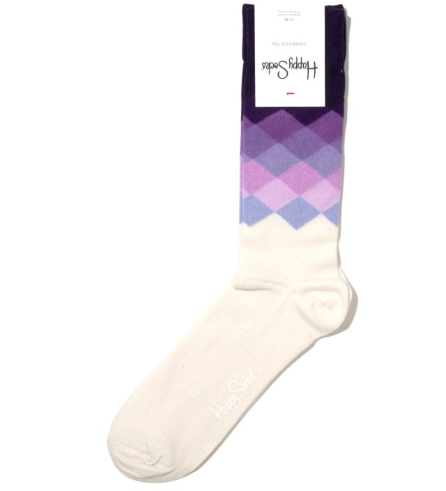 Happy Socks Purple Faded Diamond Sock