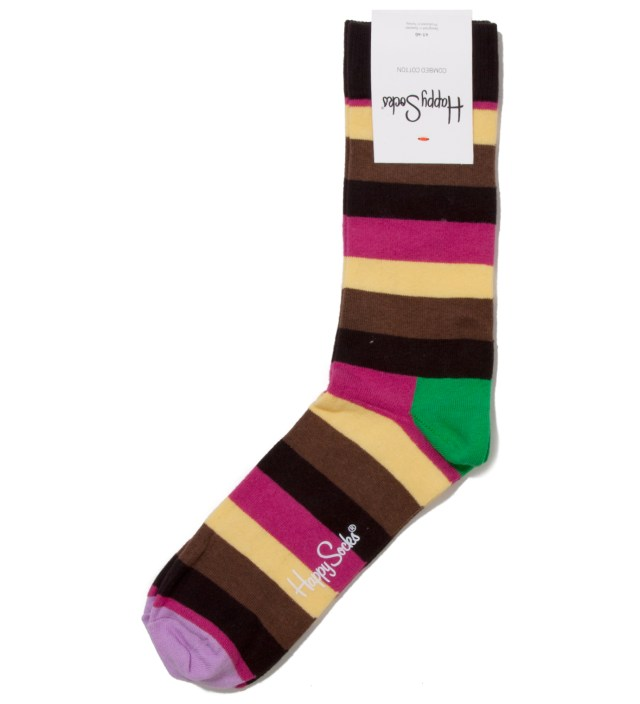 Happy Socks Light Purple Tip Stripes Sock
