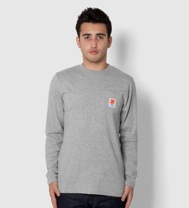 Undefeated Heather Grey Fighting Pocket Long Sleeve T-Shirt