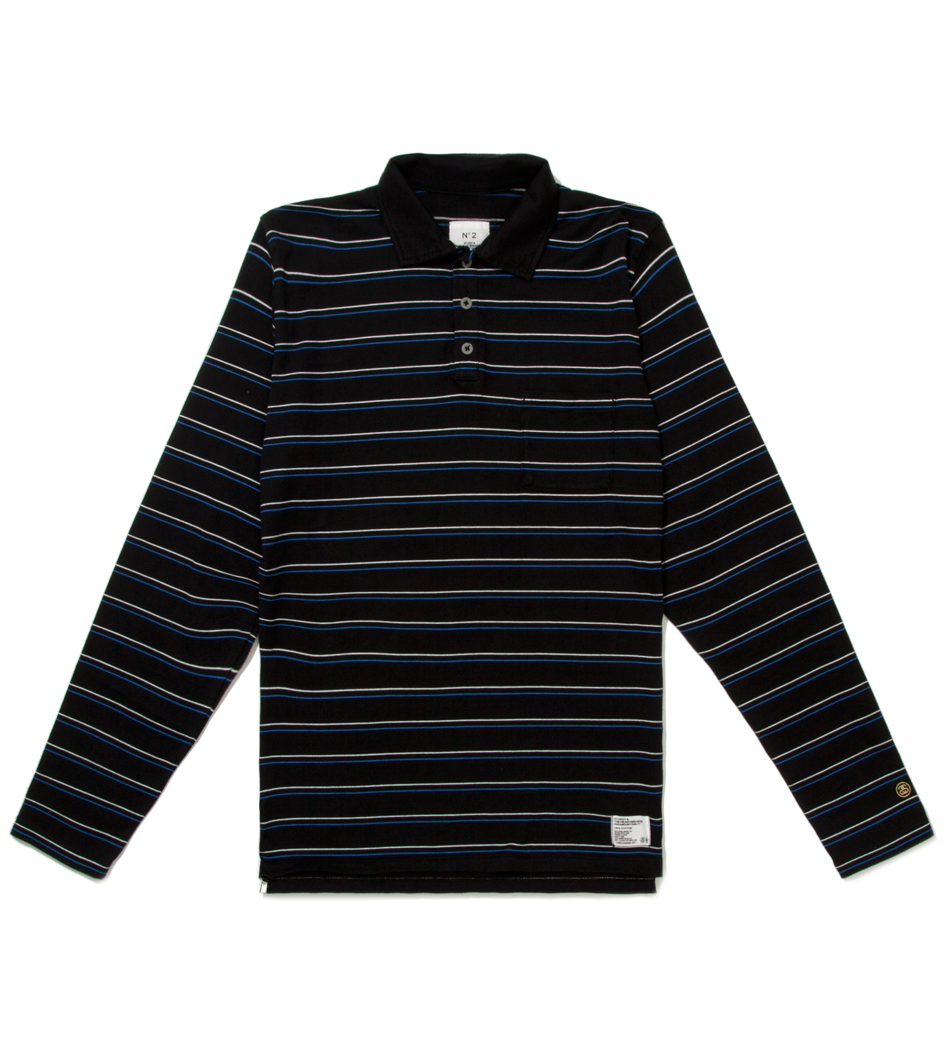 "BEDWIN & THE HEARTBREAKERS Stussy x The Heartbreakers Blue L/S ""Chuck"" Polo"