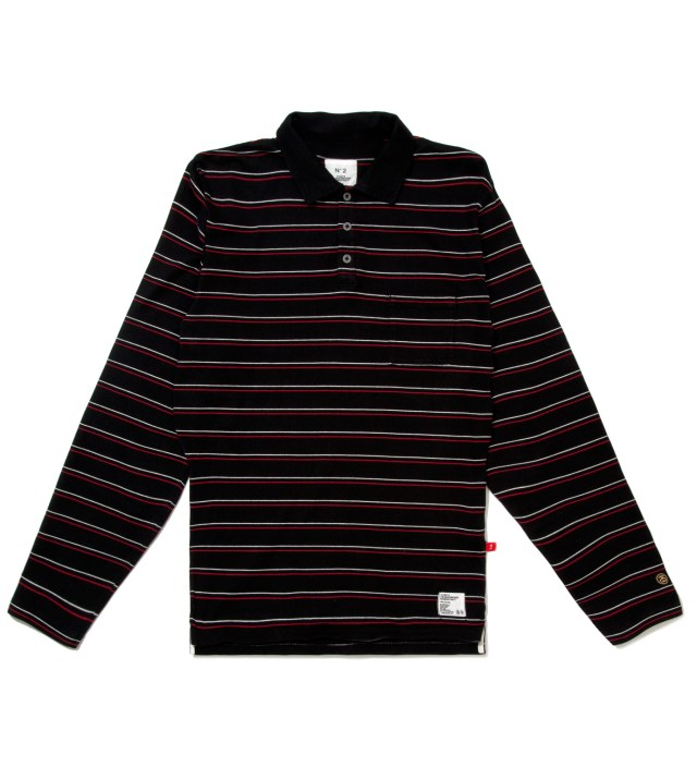 "BEDWIN & THE HEARTBREAKERS Stussy x The Heartbreakers Red L/S ""Chuck"" Polo"