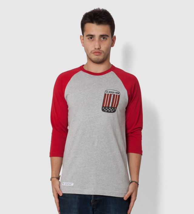 Us Versus Them Red Patched Raglan