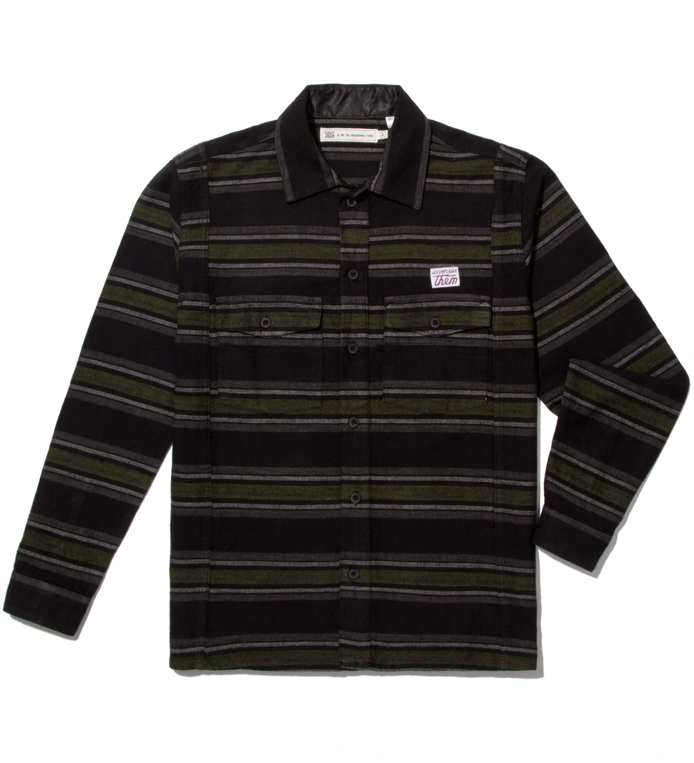 Us Versus Them Black Staples Striped Long Sleeve Woven Shirt