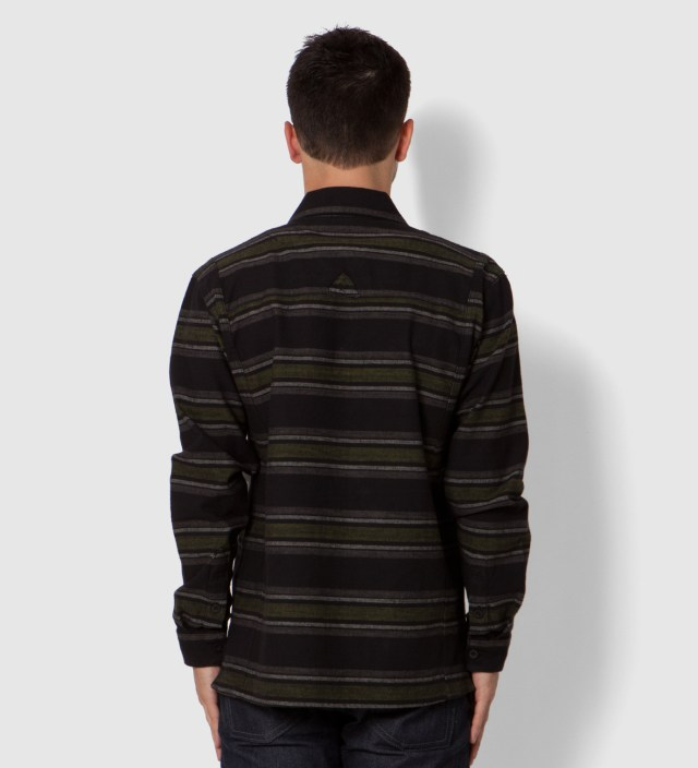 Us Versus Them Black Staples Striped Long Sleeve Woven Shirt