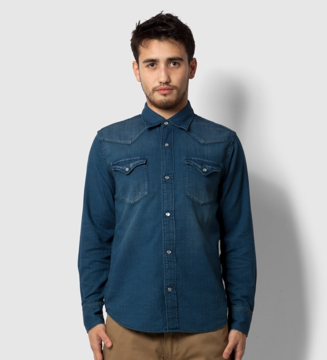 Head Porter Plus Indigo Western Nel Shirt