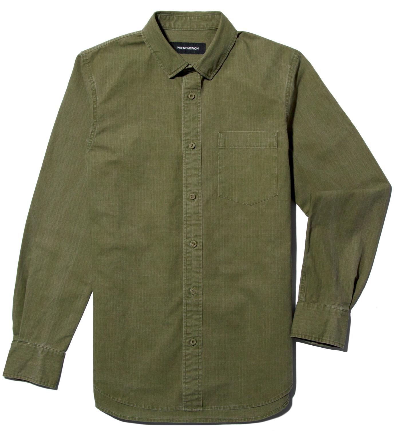 PHENOMENON Moss Green Cotton Ripstop Button-Down Shirt