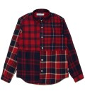 Head Porter Plus Red Check Patchwork Shirt