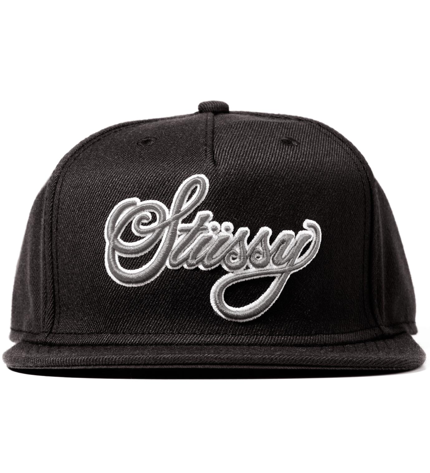 Stussy Black Team Script Snapback Ballcap
