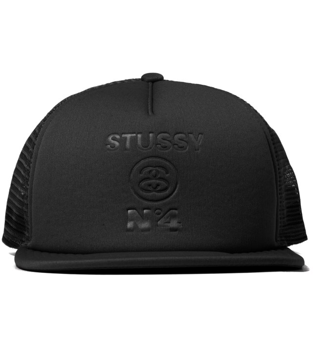 Stussy Black No 4 Mesh Snapback Ballcap