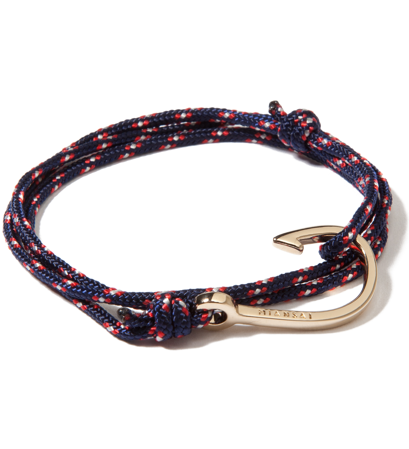 Miansai Gold Hook on Navy Rope Bracelet