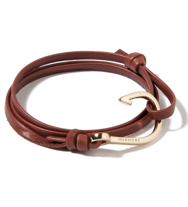 Miansai Gold Hook on Brown Leather Bracelet