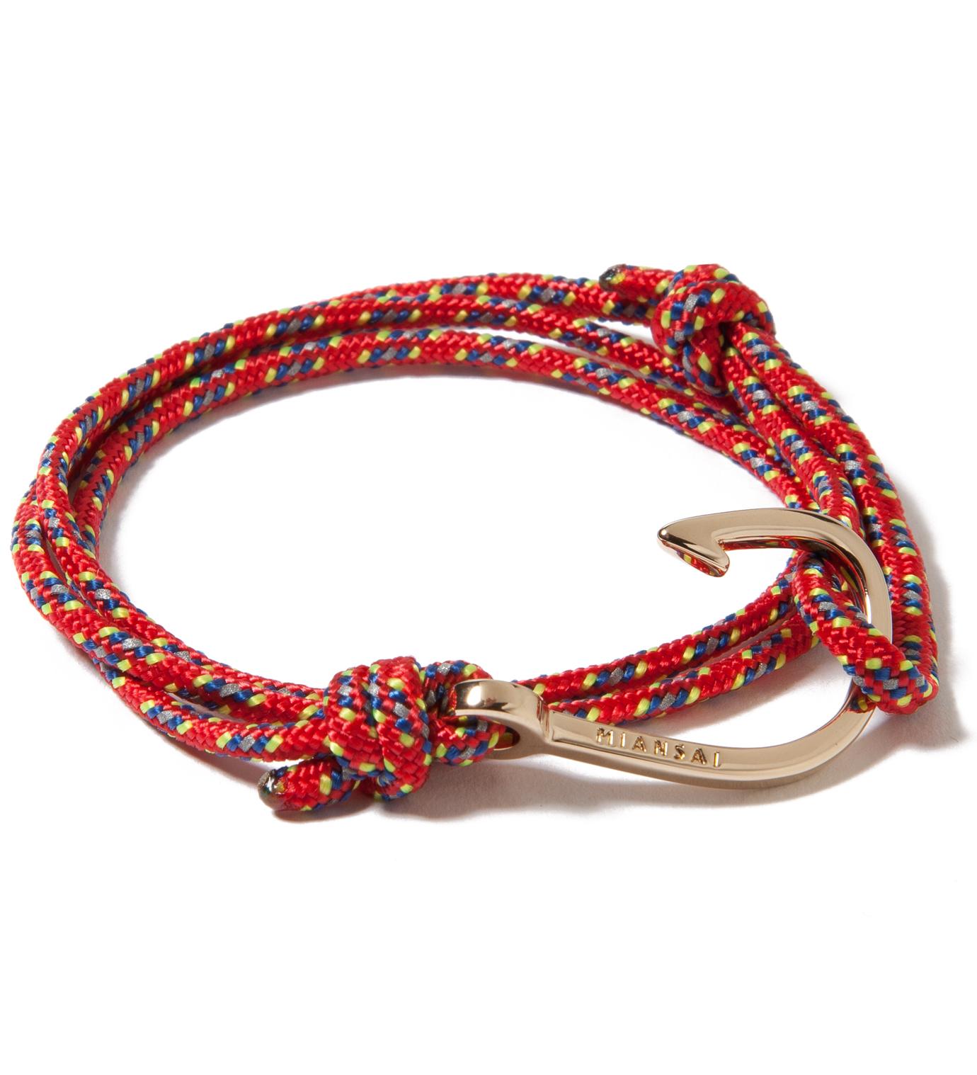 Miansai Gold Hook on Red Rope Bracelet