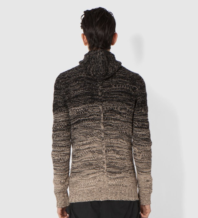 SILENT DAMIR DOMA Black/Beige Karelia Knit Zip Hoodie