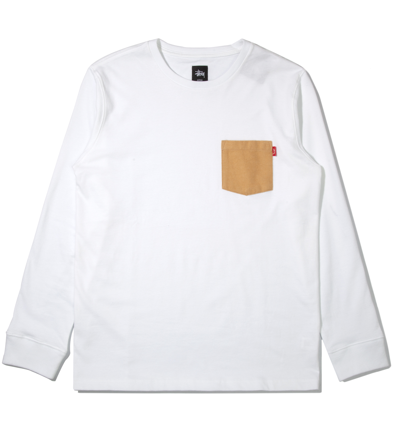Stussy White Flannel Pocket Long Sleeve T-Shirt