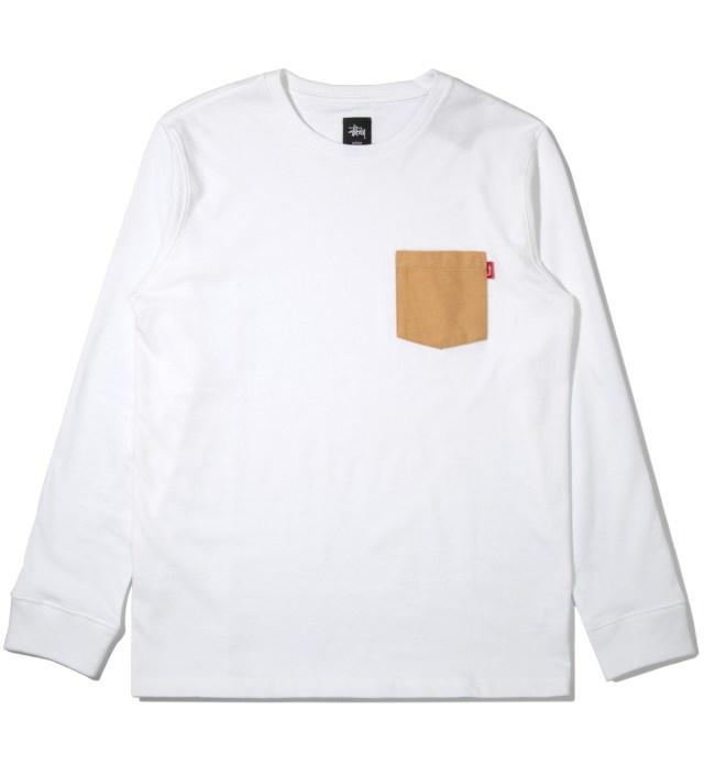 Stussy White Flannel Pocket Long Sleeve T-Shirt